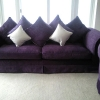Purple Sofa with Cushions